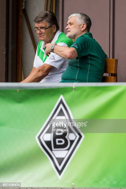 Hans Meyer of Borussia Moenchengladbach looks on during a training session at the Training Camp of Borussia Moenchengladbach on July 18, 2017 in...