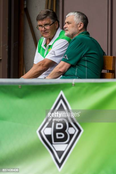 Hans Meyer of Borussia Moenchengladbach looks on during a training session at the Training Camp of Borussia Moenchengladbach on July 18 2017 in...