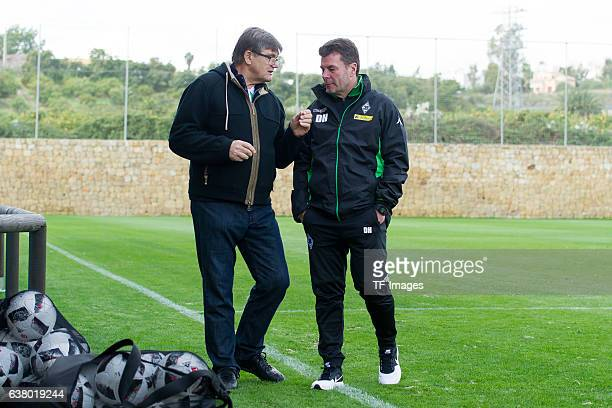 Hans Meyer of Borussia Moenchengladbach und Head couch Dieter Hecking of Borussia Moenchengladbach during a Training Session at Borussia...