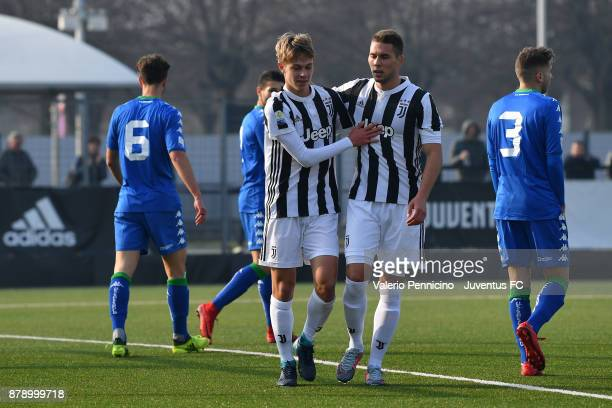 Hans Nicolussi Caviglia of Juventus U19 celebratees the opening goal with team mate Marko Pjaca during the Serie A Primavera match between Juventus...