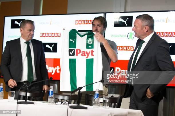 Hans Nijland of FC Groningen Jannik Pohl of FC Groningen Ron Jans of FC Groningen during the Contract Signing Jannik Pohl of FC Groningen at the...