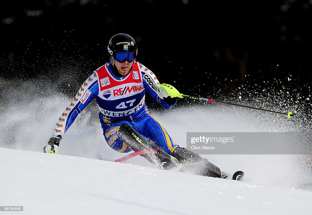 Hans Olsson of Sweden in action during the Mens Super Combined Slalom event on January 15, 2010 in Wengen, Switzerland.
