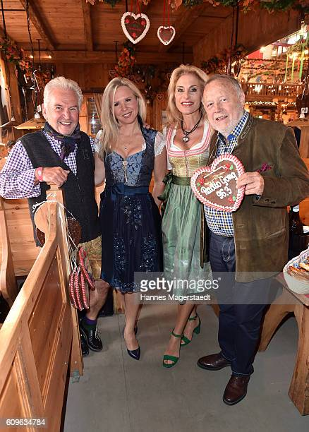 Hans Ostler with partner Ingrid Joseph Vilsmaier and Birgit Muth during the Radio Gong 963 Wiesn during the Oktoberfest 2016 on September 21 2016 in...