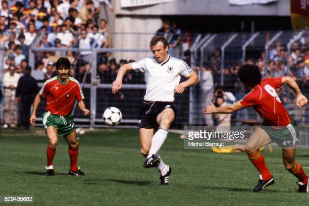 Hans Peter Briegel of West Germany during the European Championship match between West Germany and Portugal at Meinau Strasbourg Paris on 14th June...