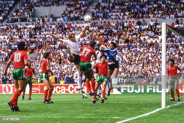 Hans Peter Briegel of West Germany during the Football European Championship between West Germany and Portugal Strasbourg France on 14 June 1984