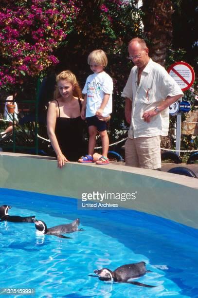 Hans Peter Korff, deutscher Schauspieler, mit Ehefrau Christiane Leuchtmann und Sohn Johannes Valentin im Urlaub an einem Pinguinbassin, Spanien um...