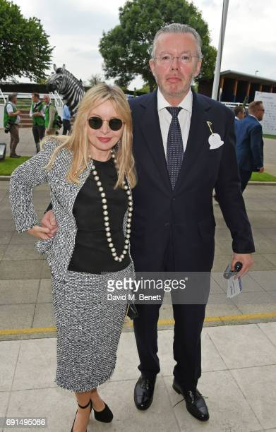 Hans Rausing and Julia Delves Broughton attend Ladies Day of the 2017 Investec Derby Festival at The Jockey Club's Epsom Downs Racecourse at Epsom...