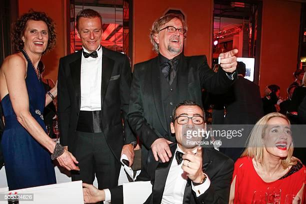 Hans Reiner Schroeder Innegrit Volkhardt Martin Krug Caroline Goddet Erol Sander and guest during the German Film Ball 2016 at Hotel Bayerischer Hof...