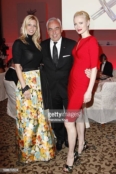 Hans Reiner Schroeder With Wife And Katerina and Franziska Knuppe at the 10th Anniversary Of The Felix Burda Award at Hotel Adlon in Berlin