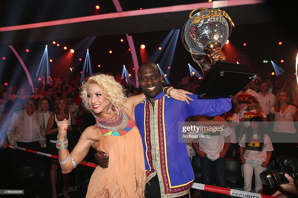 Hans Sarpei And Kathrin Menzinger Celebrate After Winning The Award