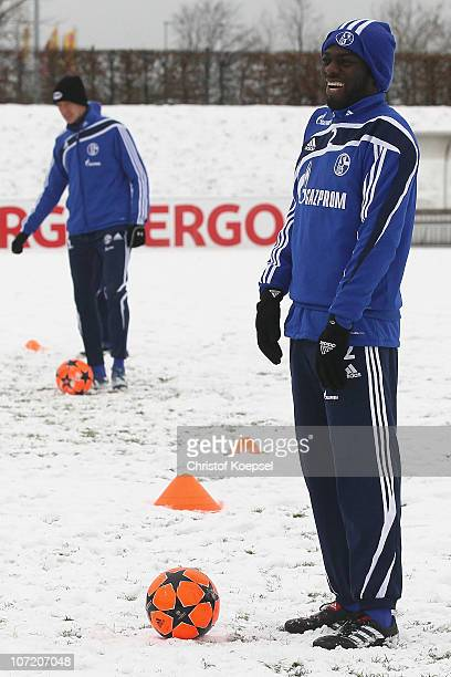 Hans Sarpei attends the FC Schalke training session of the second team at the training ground on November 30 2010 in Gelsenkirchen Germany