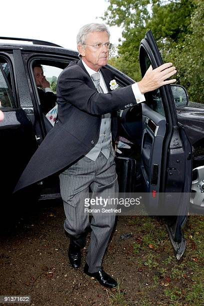 Hans Schoeneberger father of Barbara Schoeneberger arrives for the church wedding of Barbara Schoeneberger and Maximilian von Schierstaedt at the...
