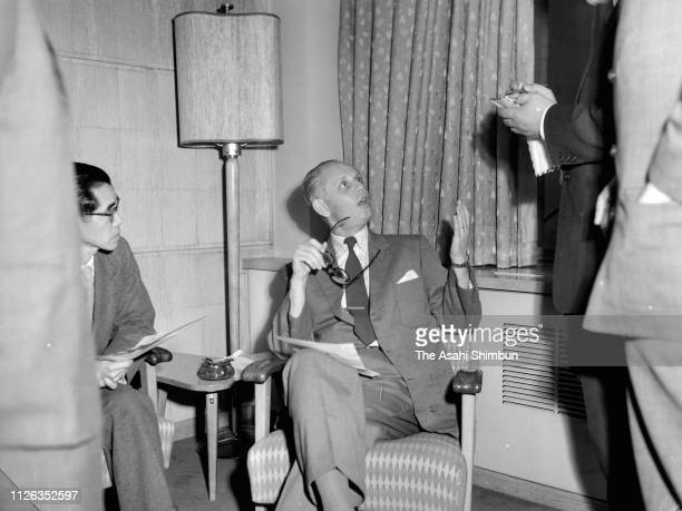 Hans Selye professor and director of the Institute of Experimental Medicine and Surgery of the Montreal University is seen on April 12 1957 in Tokyo...