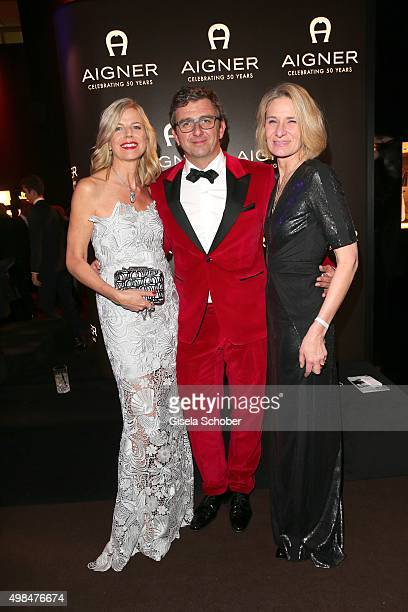 Hans Sigl and his wife Susanne Sigl and Sibylle Schoen, Aigner during the Bambi Awards 2015 after show party at Stage Theater on November 12, 2015 in...