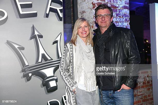 Hans Sigl and his wife Susanne Sigl during the Maserati 'Levante' Launch event on March 21 2016 in Frankfurt am Main Germany