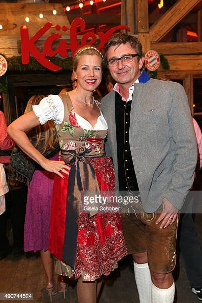 Hans Sigl and his wife Susanne Sigl during the Oktoberfest 2015 at Kaeferschaenke / Theresienwiese on September 30, 2015 in Munich, Germany.