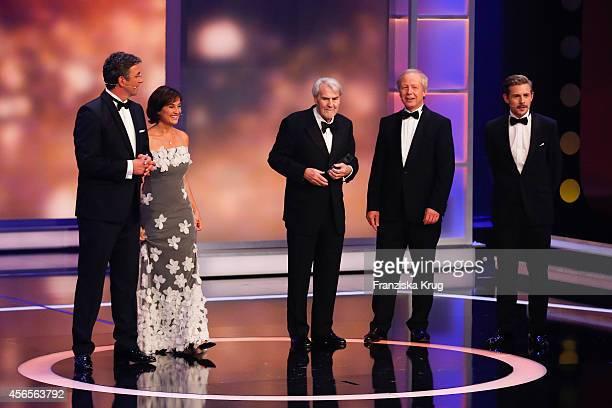 Hans Sigl Sandra Maischberger Gerd Ruge Tom Buhrow and Klaas HeuferUmlauf attend the Deutscher Fernsehpreis 2014 show on October 02 2014 in Cologne...
