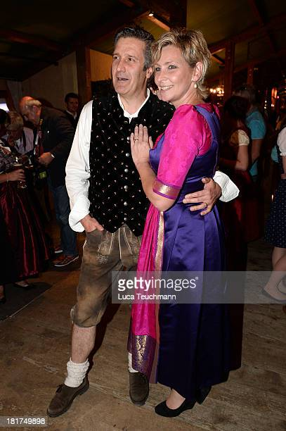 Hans Singer and Claudia Jung attend the 'Goldstar TV Wiesn' as part of the Oktoberfest beer festival at Weinzelt at Theresienwiese on September 24...