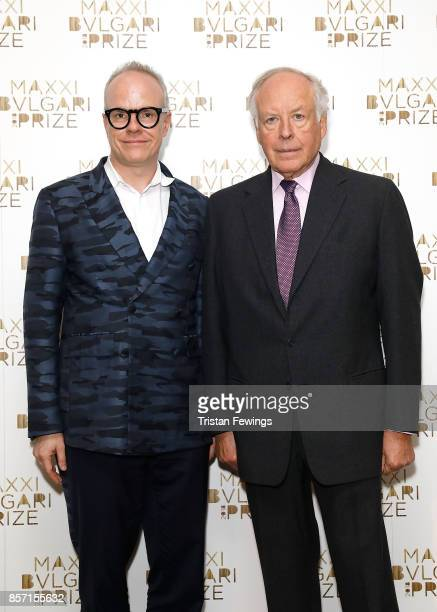 Hans Ulrich Obrist and Nicola Bulgari attend The Maxxi Bvlgari Prize press conference at Bulgari Hotel on October 3 2017 in London England