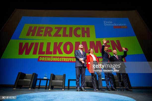 Hans Ulrich Ruelke Nicola Beer Christian Lindner and Michael Theurer are seen during the traditional Epiphany meeting of the German Free Democratic...