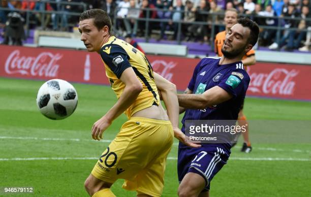 Hans Vanaken midfielder of Club Brugge and Ivan Obradovic defender of RSC Anderlecht pictured during the Jupiler Pro League PlayOff 1 match between...