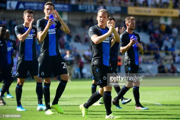Hans Vanaken midfielder of Club Brugge and Ruud Vormer midfielder of Club Brugge greeting the supporters during the Jupiler Pro League match between...