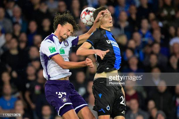 Hans Vanaken midfielder of Club Brugge battles for the ball with Philippe Sandler defender of Anderlecht during the Jupiler Pro League match between...