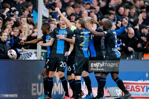 Hans Vanaken midfielder of Club Brugge scores and celebrates during the Jupiler Pro League match between Club Brugge and Royal Antwerp FC on February...