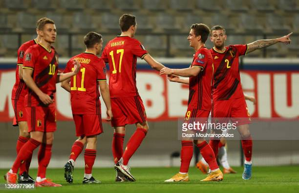 Hans Vanaken of Belgium celebrates with team mates after scoring their side's second goal during the FIFA World Cup 2022 Qatar qualifying match...