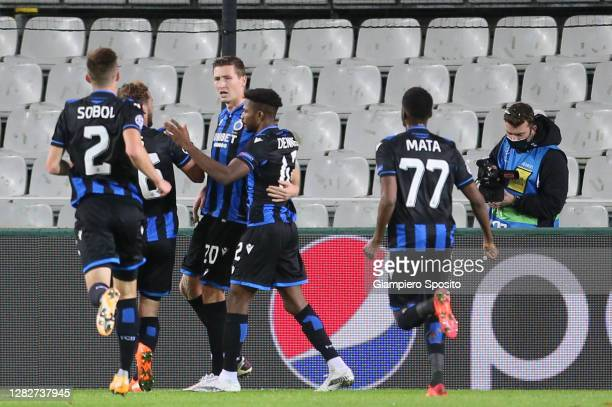 Hans Vanaken of Club Brugge KV celebrates after scoring his team's first goalT during the UEFA Champions League Group F stage match between Club...