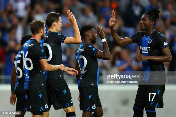 Hans Vanaken of Club Brugge KV celebrates scoring his teams first goal of the game with team mates Mats Rits, Emmanuel Dennis, Simon Deli and Matej...