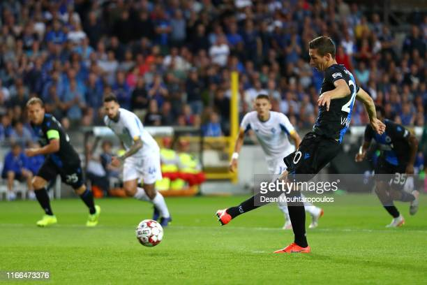 Hans Vanaken of Club Brugge KV takes and scores the first goal of the game from the penalty spot during the UEFA Champions League, Third qualifying...