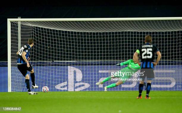 Hans Vanaken of Club Brugge scores their sides second goal from the penalty spot during the UEFA Champions League Group F stage match between Club...