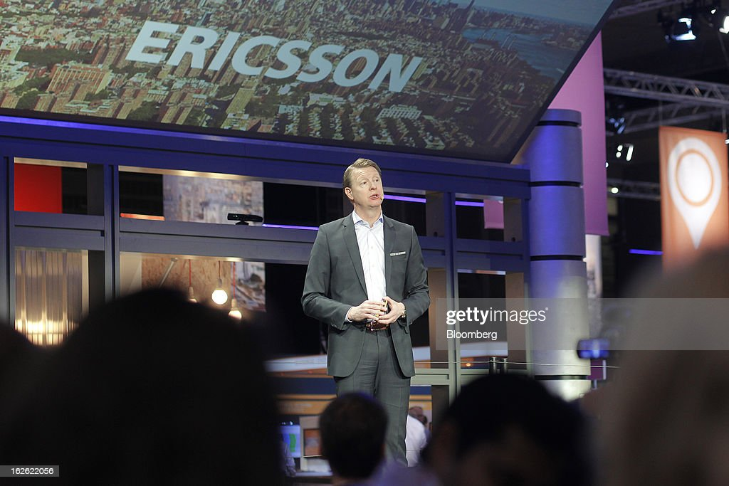 Hans Vestberg, chief executive officer of Ericsson AB, center, speaks during a news conference at the Mobile World Congress in Barcelona, Spain, on Monday, Feb. 25, 2013. The Mobile World Congress, where 1,500 exhibitors converge to discuss the future of wireless communication, is a global showcase for the mobile technology industry and runs from Feb. 25 through Feb. 28. Photographer: Angel Navarrete/Bloomberg via Getty Images