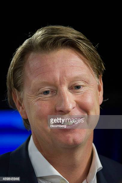 Hans Vestberg chief executive officer of Ericsson AB smiles during a Bloomberg West television interview in San Francisco California US on Monday Dec...