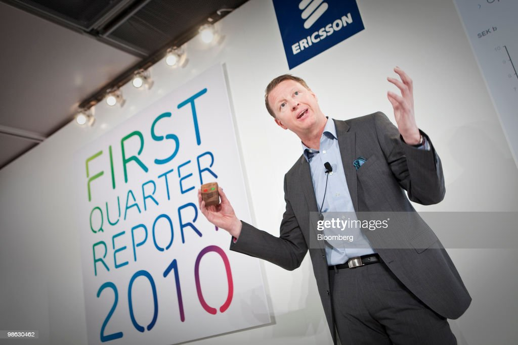 Hans Vestberg, chief executive officer of Ericsson AB, speaks during the company's first-quarter earnings press conference in Kista, Sweden, on Friday, April 23, 2010. Ericsson AB the world's largest maker of wireless networks said its U.S. operations were strong and consumer demand for more wireless bandwidth was fueling growth. Photographer: Casper Hedberg/Bloomberg via Getty Images