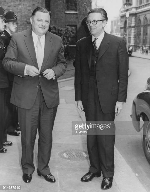 Hans Von Herwarth the German Ambassador to London meets Franz Josef Strauss the West German Defence Minister upon his arrival at 10 Downing Street in...