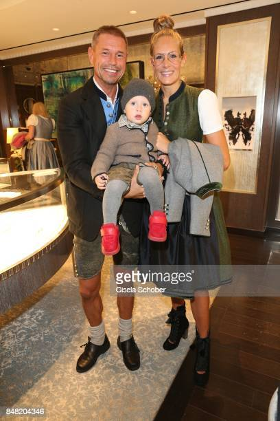 Hans Wehrmann and his wife Vanessa Wehrmann and their son Matz during the 'Fruehstueck bei Tiffany' at Tiffany Store ahead of the Oktoberfest on...