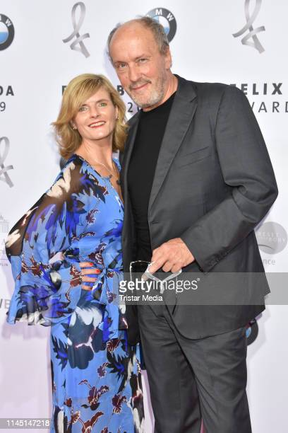 Hans Werner Olm and his girlfriend Cornelia Utz attend the 17th Felix Burda Award at Hotel Adlon Kempinski on May 19 2019 in Berlin Germany