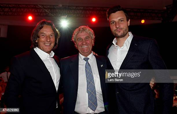 Hans Wilhelm Mueller Wohlfahrt is seen with former goalkeeper Jean Marie Pfaff during the FC Bayern Muenchen Champions dinner at Postpalast on May 23...