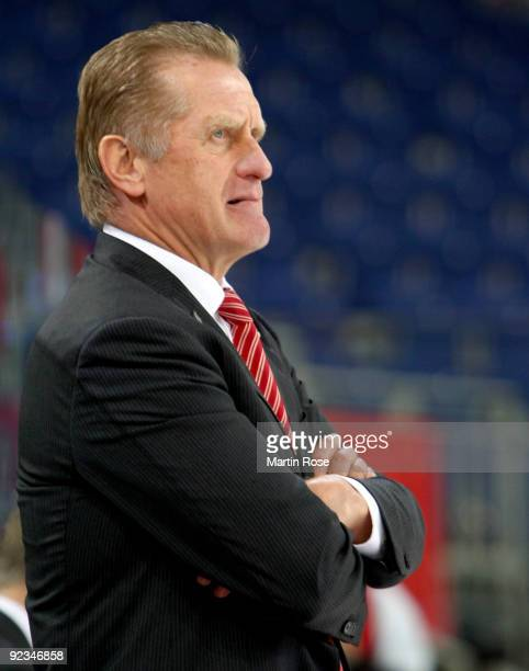 Hans Zach head coach of Hannover poses during the DEL match between Hannover Scorpions and Augsburg Panther at the TUI Arena on October 23 2009 in...
