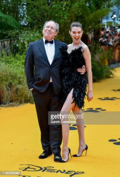 """Hans Zimmer and Zoe Zimmer attend the European Premiere of Disney's """"The Lion King"""" at Odeon Luxe Leicester Square on July 14, 2019 in London,..."""
