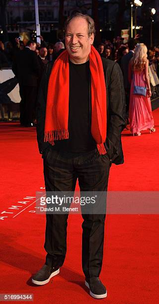 """Hans Zimmer attends the European Premiere of """"Batman V Superman: Dawn Of Justice"""" at Odeon Leicester Square on March 22, 2016 in London, England."""