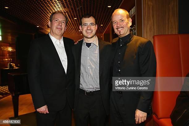 Hans Zimmer Leeran Z Raphaely and Frank Strobel attend the 'Film Musik Wettbewerb' Dinner during Day 7 of Zurich Film Festival 2014 on October 1 2014...