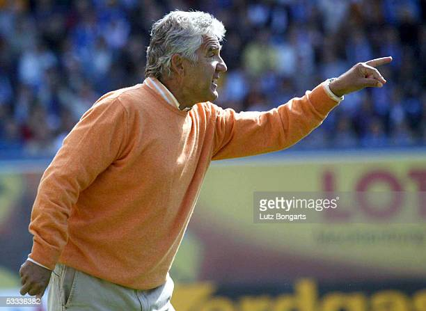 Hansa Rostock Coach Joerg Berger points during the match of the Second Bundesliga between FC Hansa Rostock and Kickers Offenbach on August 7 2005 in...