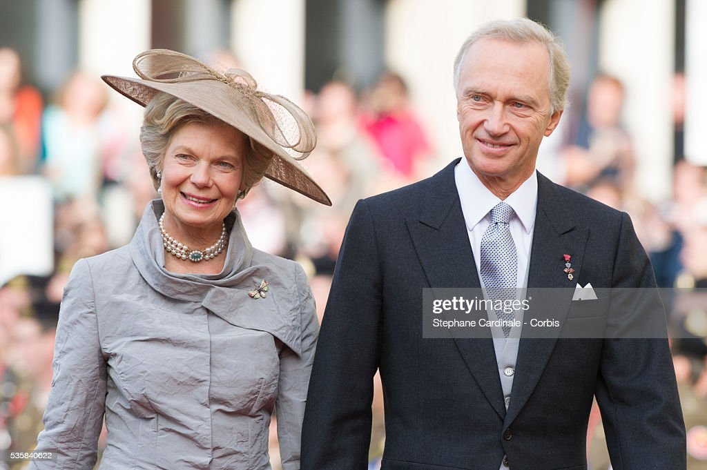 Hans-Adam II of Liechtenstein and princess Marie Aglae of Liechtenstein attend the wedding ceremony of Prince Guillaume of Luxembourg and Princess Stephanie of Luxembourg at the Cathedral of our Lady of Luxembourg, in Luxembourg.