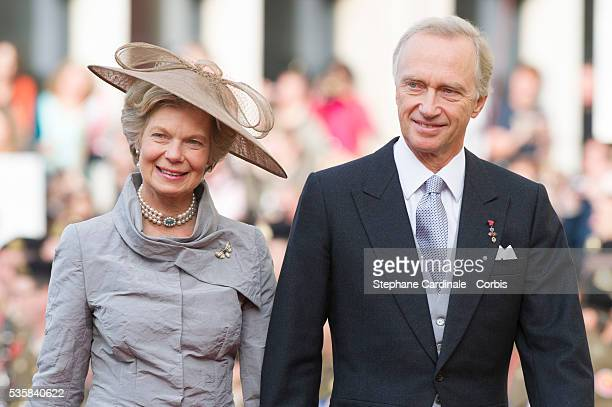 Hans-Adam II of Liechtenstein and princess Marie Aglae of Liechtenstein attend the wedding ceremony of Prince Guillaume of Luxembourg and Princess...