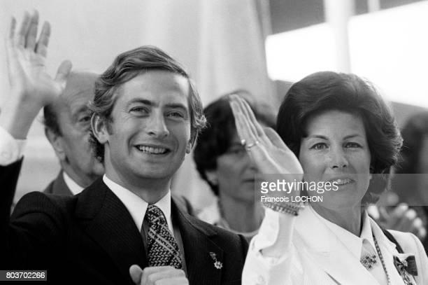 Hans-Adam II, prince héritier du Liechtenstein, et son épouse Marie Kinský von Wchinitz und Tettau lors d'une cérémonie le 14 août 1976 à Vaduz,...