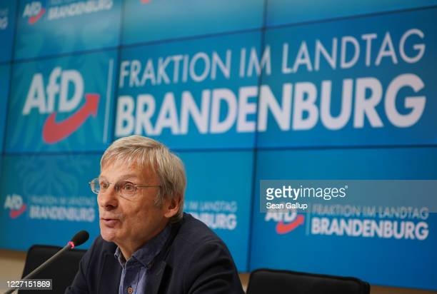 HansChristoph Berndt a member of the rightwing Alternative for Germany political party in the Brandenburg state parliament speaks to the media at the...