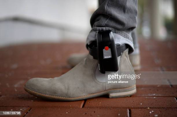 HansDieter Amthor of the IT department of the Hessian department of justice wears an electronic ankle monitor in Bad Vilbel Germany 11 January 2017...
